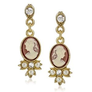 Downton Abbey Gold Pearl & Crystal Cameo Earrings